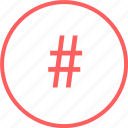 hashtag, mark, menu, navigation, tweet icon