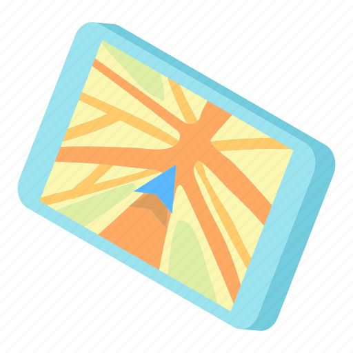 cartoon, direction, illustration, map, pin, road, tablet icon