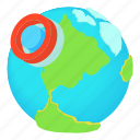cartoon, earth, illustration, map, mark, pin, road icon