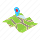 cartoon, direction, gps, illustration, map, pin, road icon