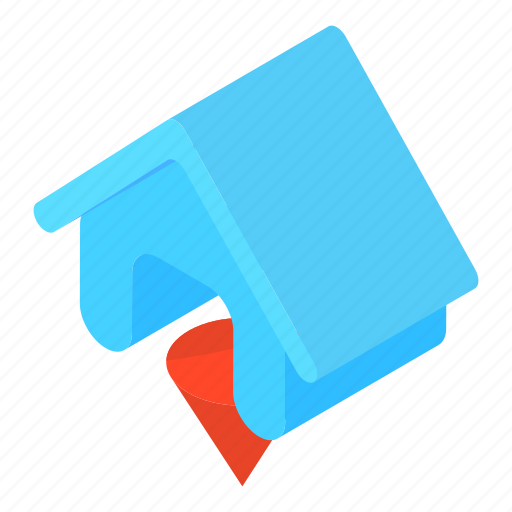blue, cartoon, construction, estate, home, house, residential icon