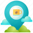 coffee, cup, direction, location, map, navigation