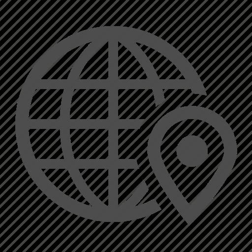 earth, geolocation, globe, locate, location, marker, pin icon