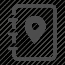 book, journey, location, log, notebook, pin, roadbook icon