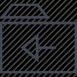 archive, arrow, back, file, folder icon