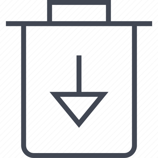 arrow, bin, can, down, menu, trash icon