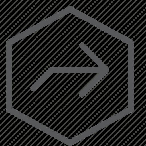 arrow, gps, hexagon, locate, navigation, next, right, turn icon