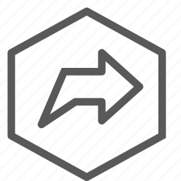 arrow, gps, hexagon, location, navigation, next, right, turn icon