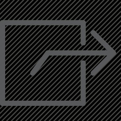arrow, gps, locate, navigation, next, right, square, turn icon