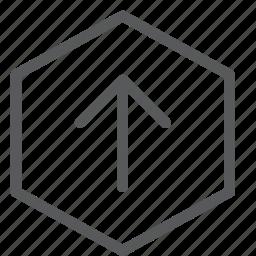 arrow, down, gps, hexagon, location, navigation, send, up icon