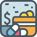 cash, coverage, credit card, dollar, health, medical, money, payment icon