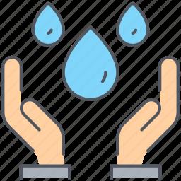 community, hand, humanitarian, ngo, resource, take, water icon