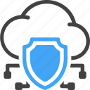 web, hosting, server, cloud, protection, security, shield icon