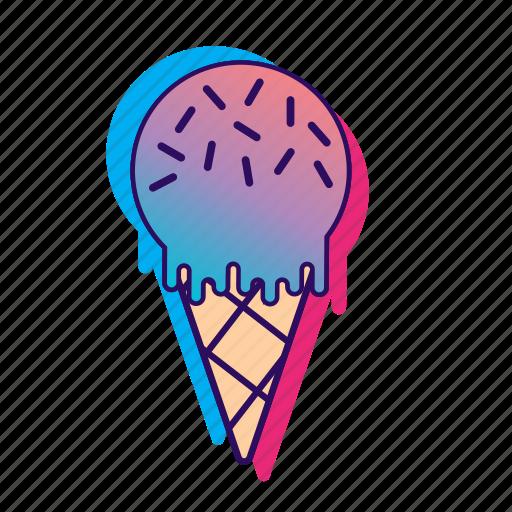 cone, icecream, icecreamiconset, lpoole, neon, popsicle icon