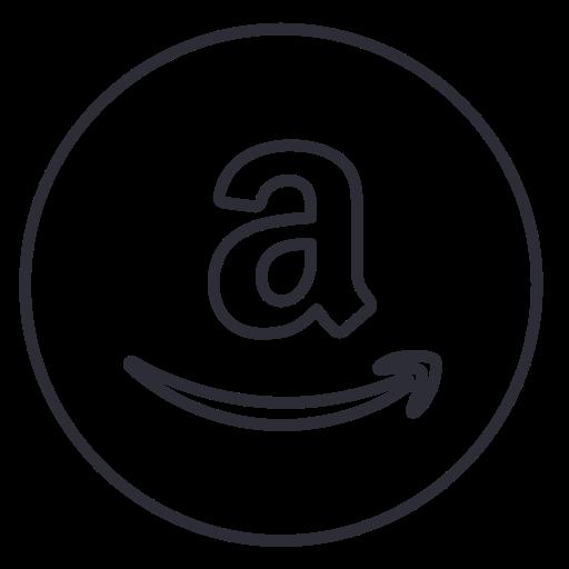 amazon, circle, ecommerce, line, neon, shop, social icon