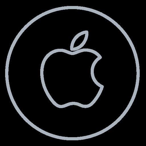 apple, circles, line, mac, machintosh, neon, social icon