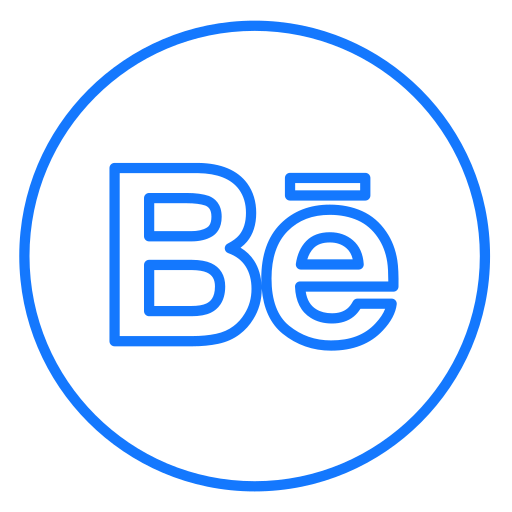 behance, circles, design, line, neon, portfolio, social icon