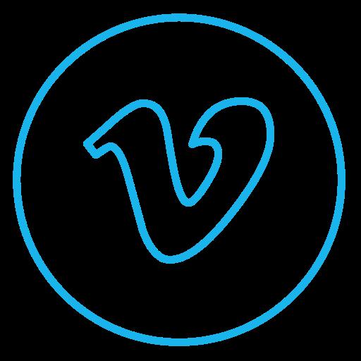 circles, line, movie, neon, social, video, vimeo icon
