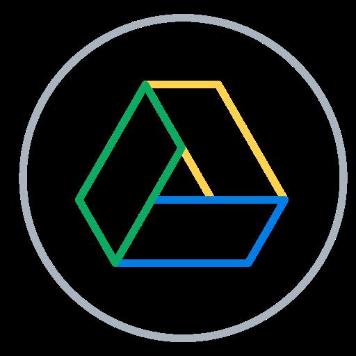 Circles, drive, files, google, line, neon, social icon