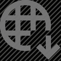 arrow, down, download, network icon