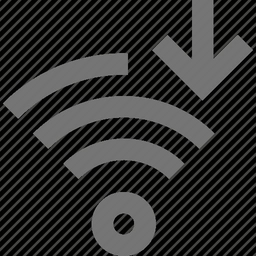 arrow, down, download, signal, wifi icon