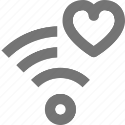 communication, connection, favorite, heart, like, network, signal, wifi icon