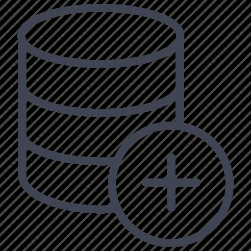 add, data, database, network, new, plus, storage icon