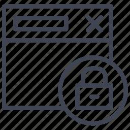 browser, internet, lock, locked, web, webpage, website icon