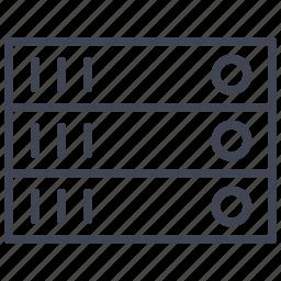 database, network, rack, server, storage icon