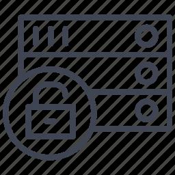 data, database, network, rack, storage, unlocked icon