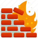 danger, fire, firewall, flame, network, wall icon