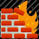 network, danger, fire, firewall, flame, wall
