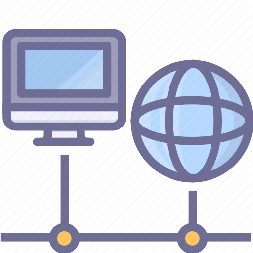 computer, earth, network, online icon