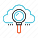 cloud, explore, find, magnifier, network, search, view icon