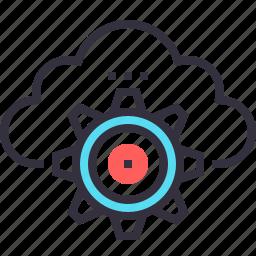 cloud, cogwheel, computing, hosting, internet, network, services icon