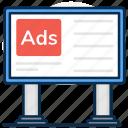 ad board, advertisement, advertisement board, billboard, board, hoarding, roadboard icon