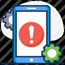 application, application error, customized app, error, invalid app, mobile configuration, mobile error icon