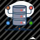 data hosting, data storage, database, database network, datacenter network, dataserver, network icon