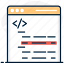 html coding, custom coding, syntax error, syntax, php code, error, code optimization icon