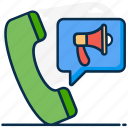 telecommunication, telemarketing, telephone marketing, telephone selling, telesales icon