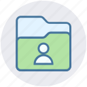 communication, document, file, folder, person, stoage, user icon