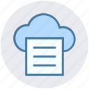 cloud, cloud computing, communication, document, file, network, paper icon