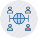 communication, globe, group, internet, networking, users, world icon