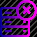 cross, data, database, delete, rack, remove, server, storage icon