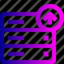 data, database, rack, server, storage, upload