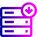 data, database, download, rack, server, storage icon