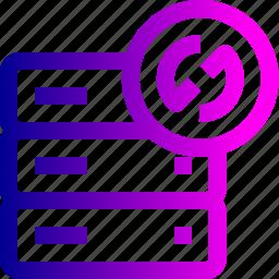 data, database, rack, reload, resfresh, server, storage, synchronize icon