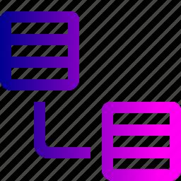 connection, data, database, oneway, rack, server, single, storage icon