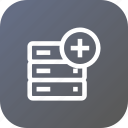 add, data, database, insert, rack, server, storage icon