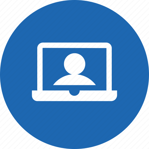 device, display, laptop, profile, screen, user, webcam icon